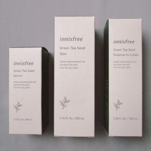 イニスフリーグリーンティーラインの化粧水と乳液と美容液